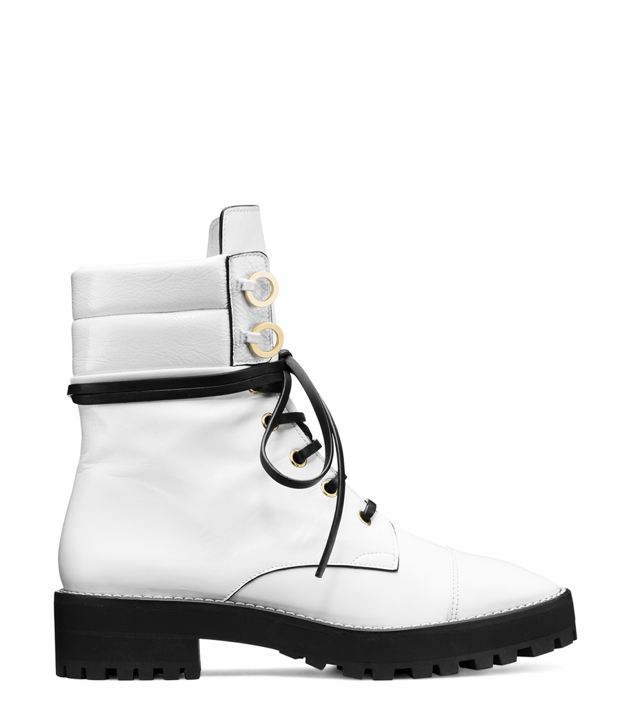 white ankle booties with laces