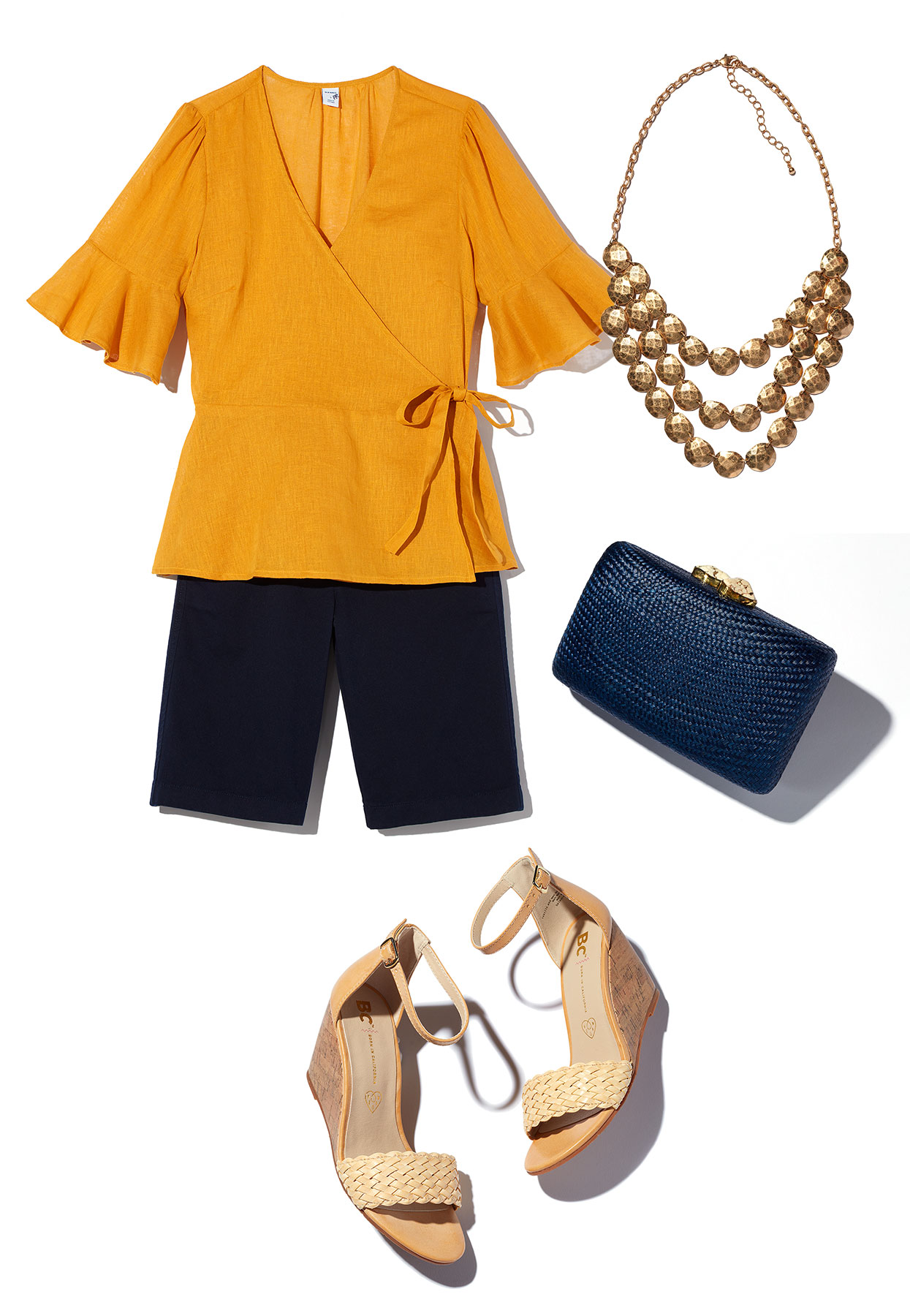 How to Style Bermuda Shorts: Clutch and Blouse