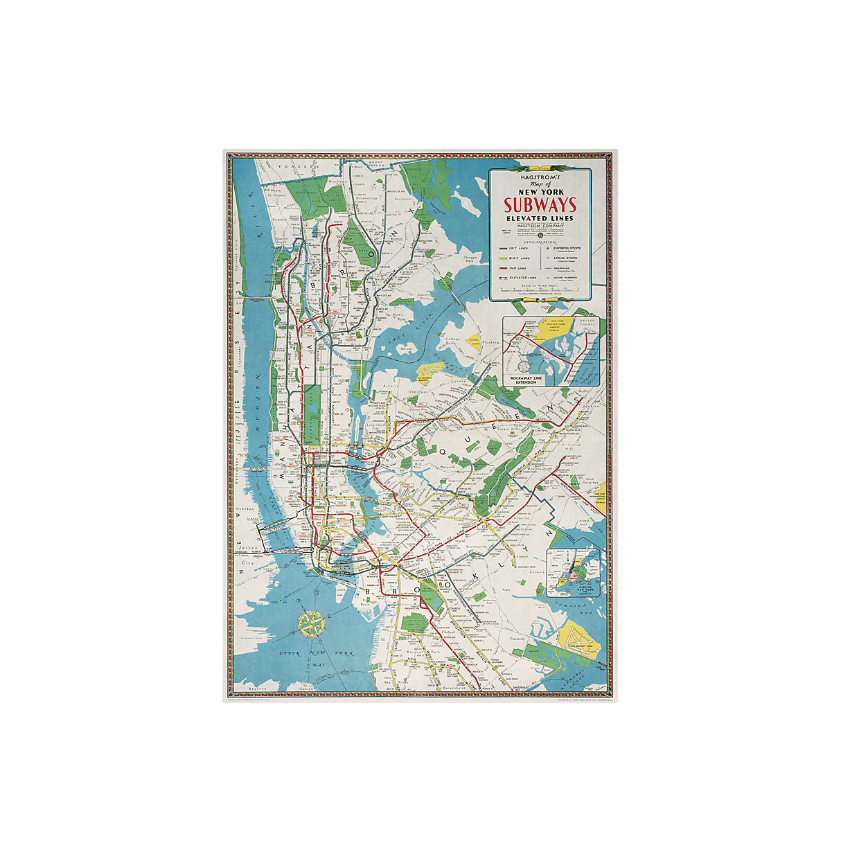 Cavallini NYC Subway Map Wrapping Paper