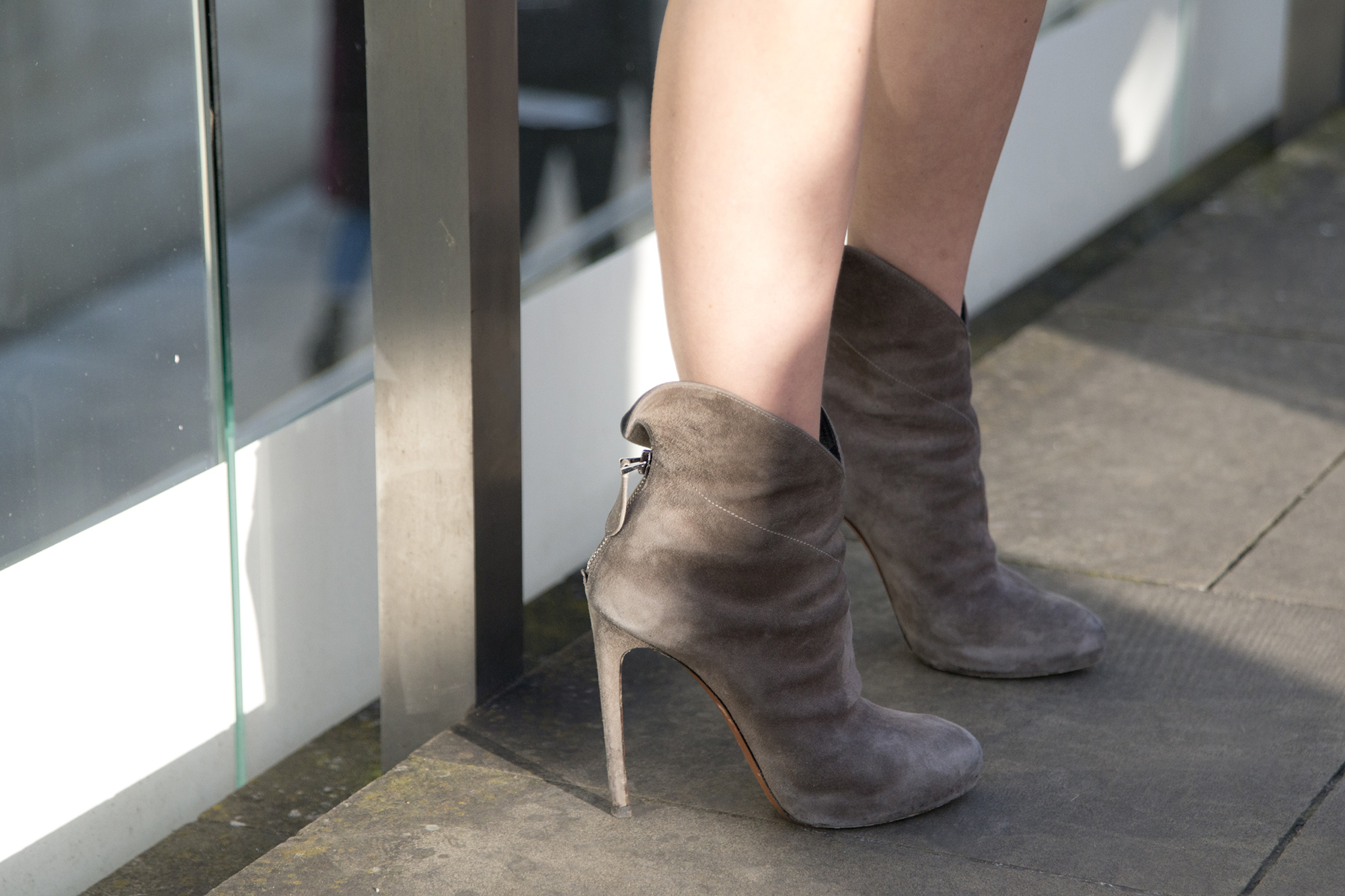 Light taupe suede ankle boots