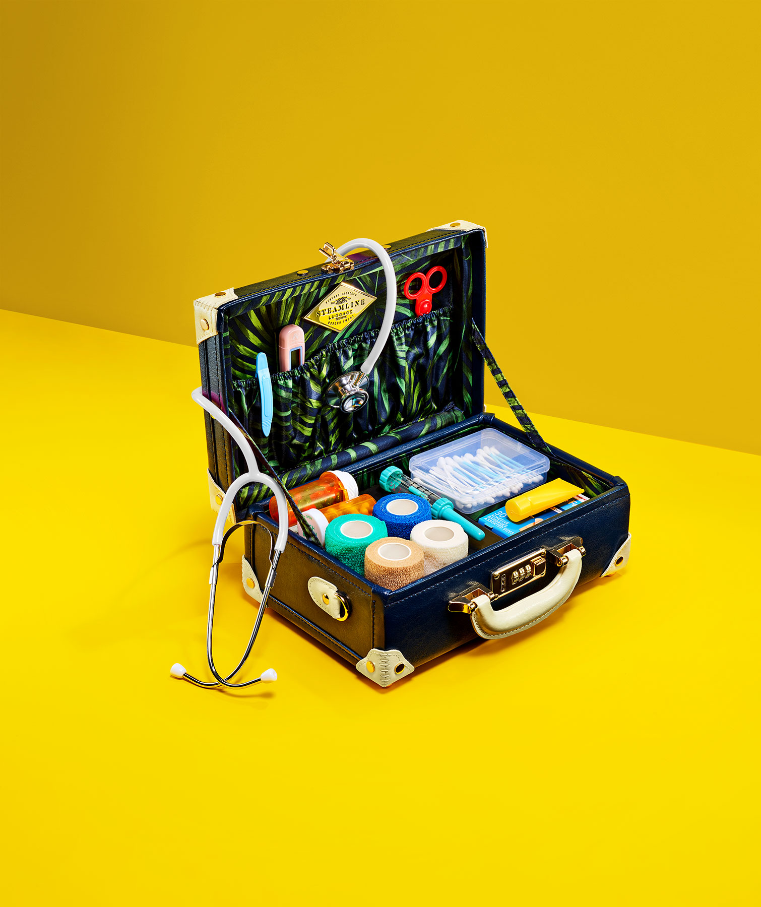 Suitcase with first-aid supplies