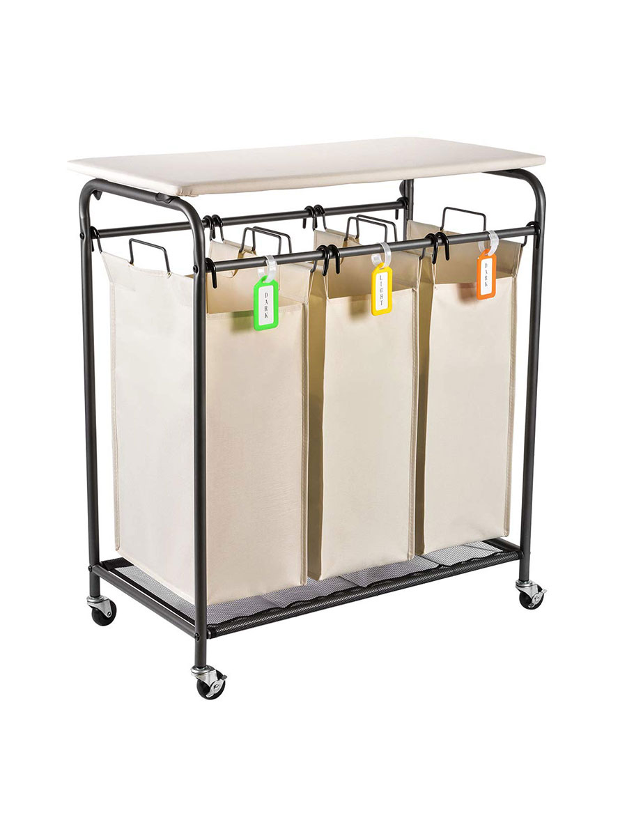 Rolling Laundry Sorter and Cart with Folding Ironing Board