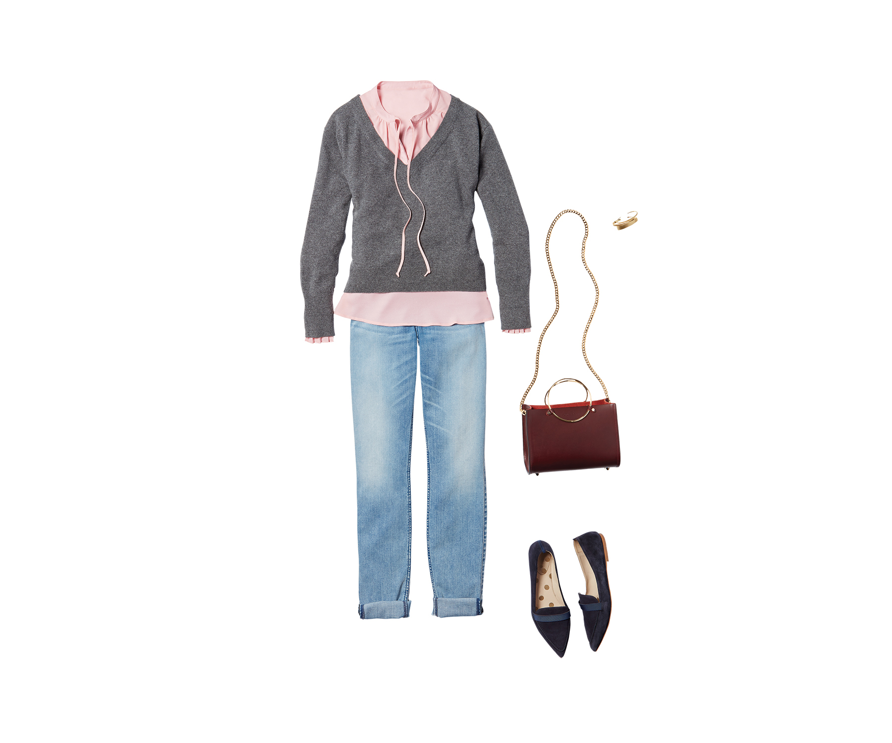Sweater + Blouse + Jeans
