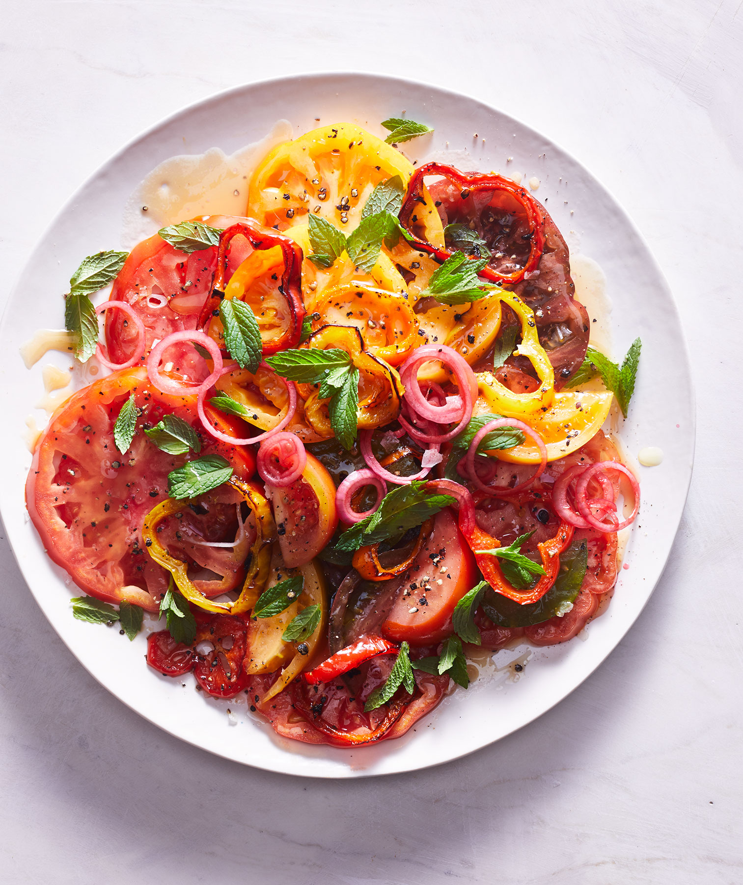 Sweet Bell Pepper and Tomato Salad With Mint