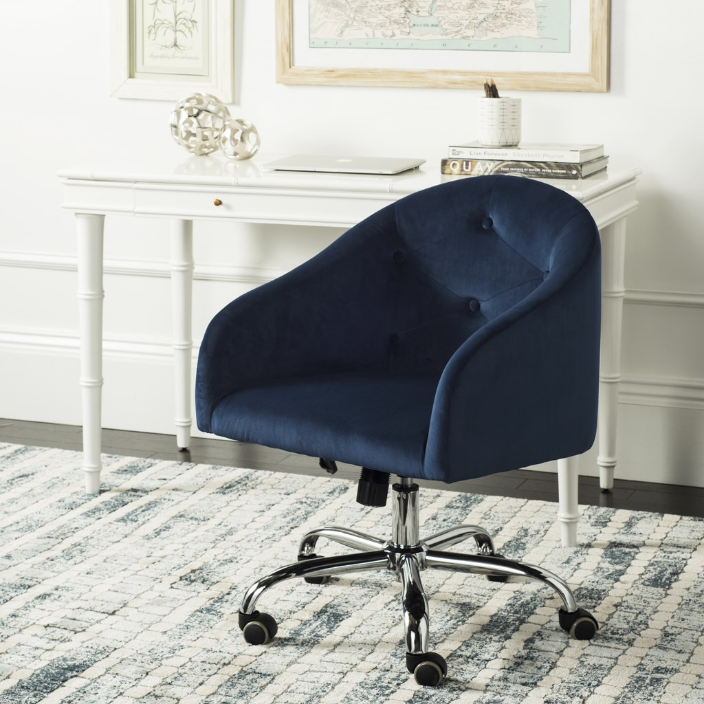 Amy Tufted Swivel Office Chair in Navy