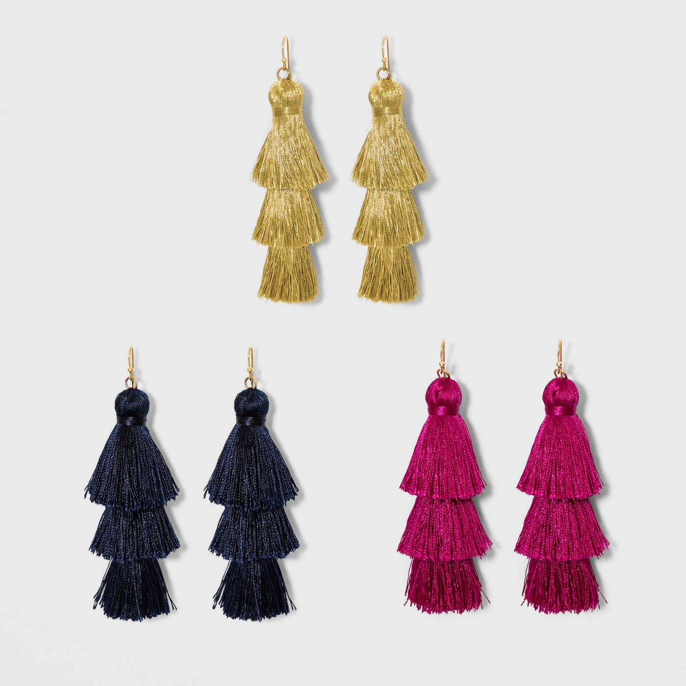 Pink, Gold, and Black Tassel Earrings gift set
