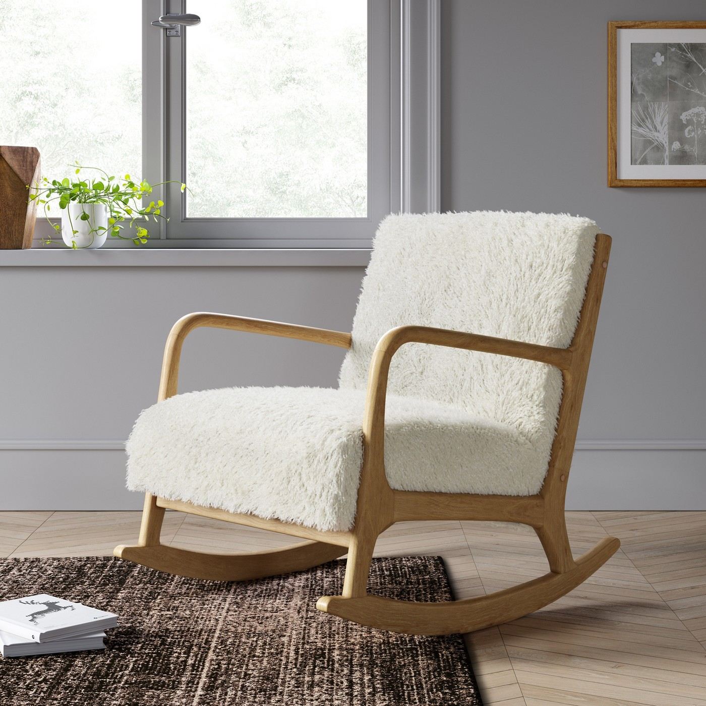 Sherpa rocking chair in wood and beige