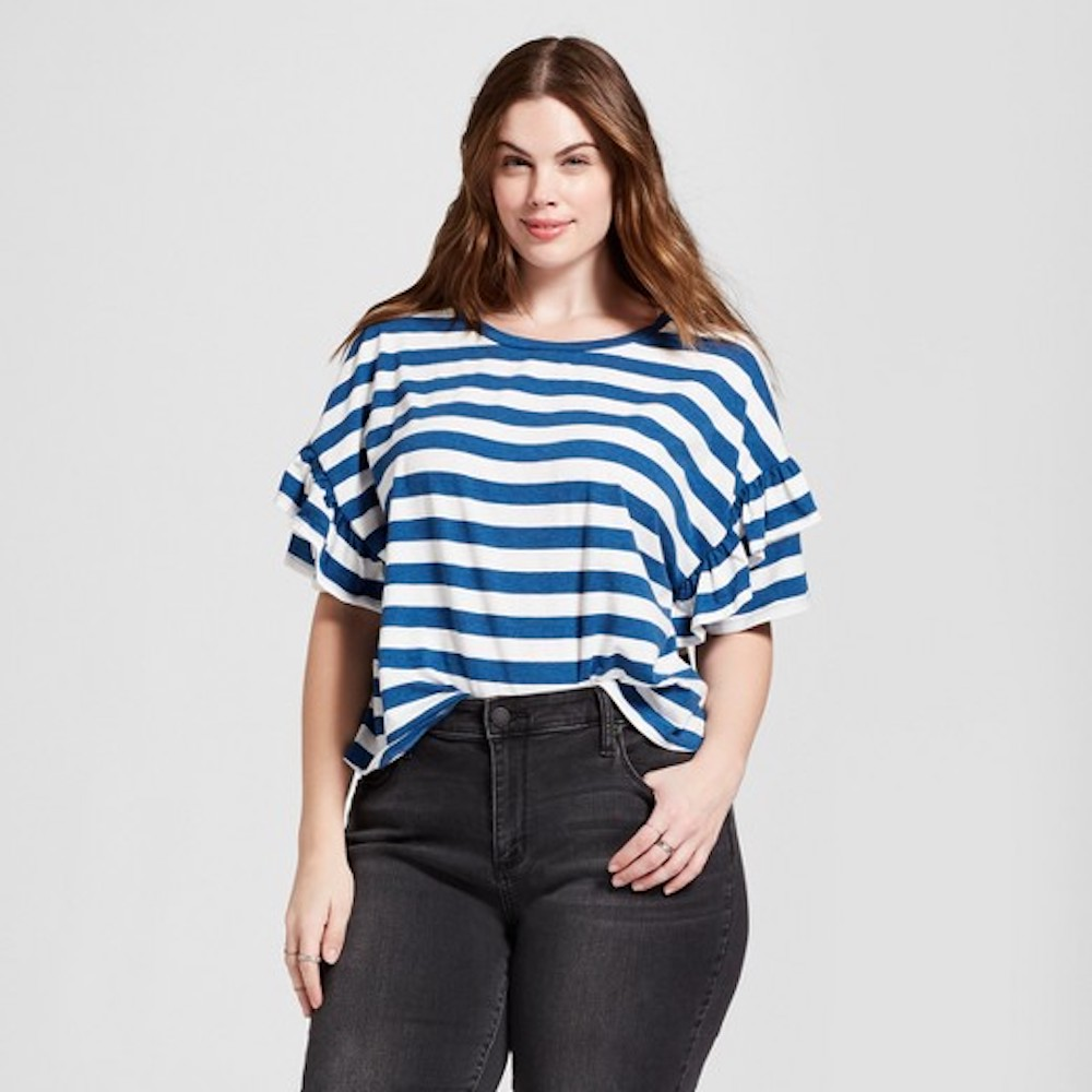 Target Striped Top in blue with ruffle sleeves