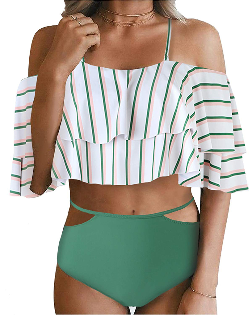 Tempt Me Off-Shoulder Ruffle Top with Print Bottoms