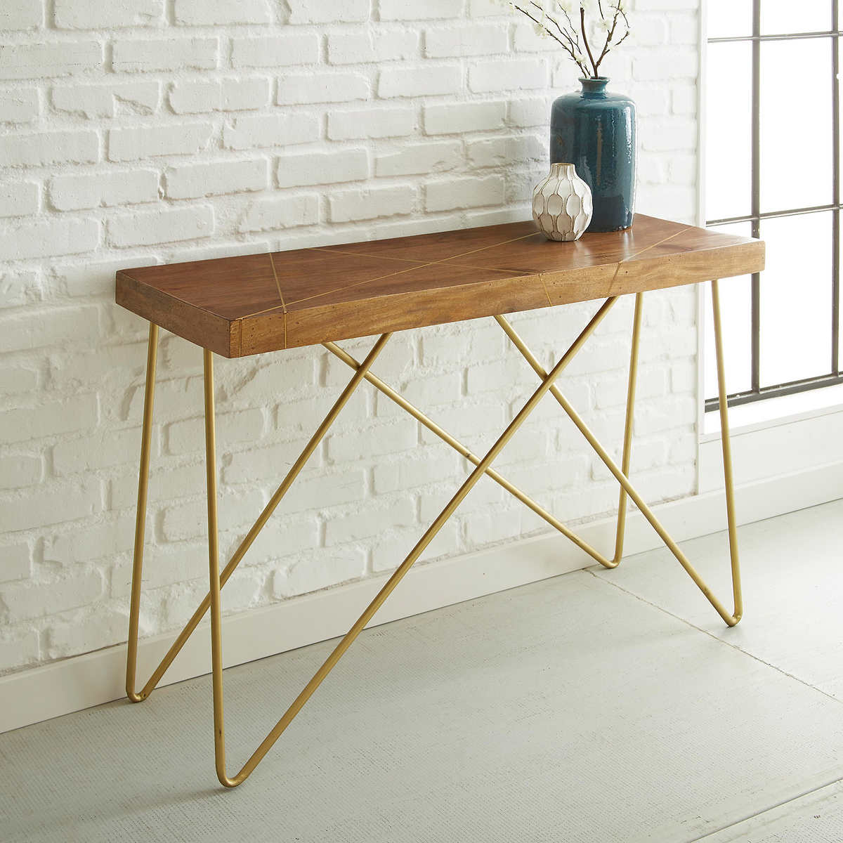 Wood and brass sofa table