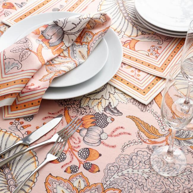 Pink and orange table linens