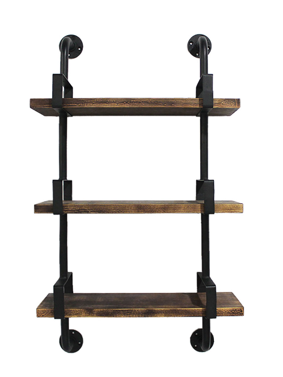 Three-Tier Industrial Iron Pipe Wall Shelves
