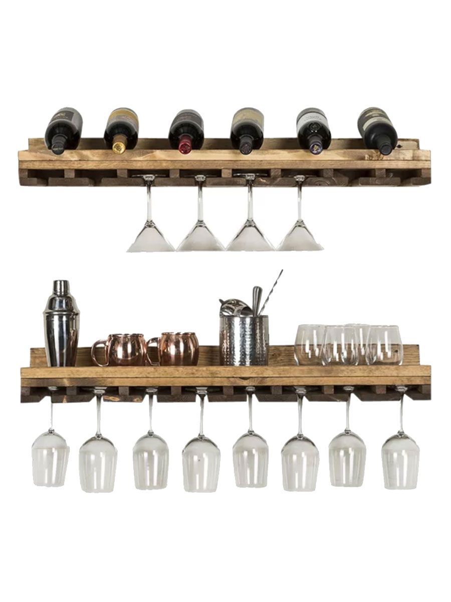 Tiered Wall Mounted Wine Glass Rack