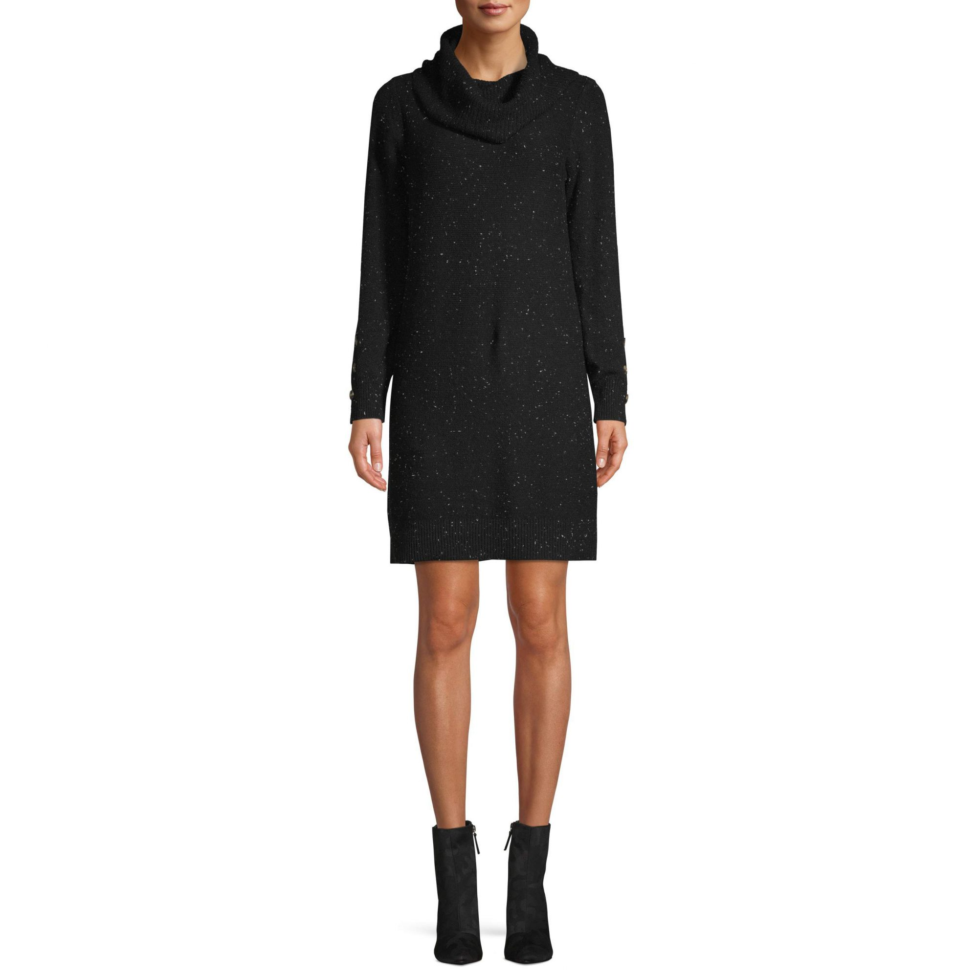 Time and Tru Cowl Neck Dress with Button Detail Women's