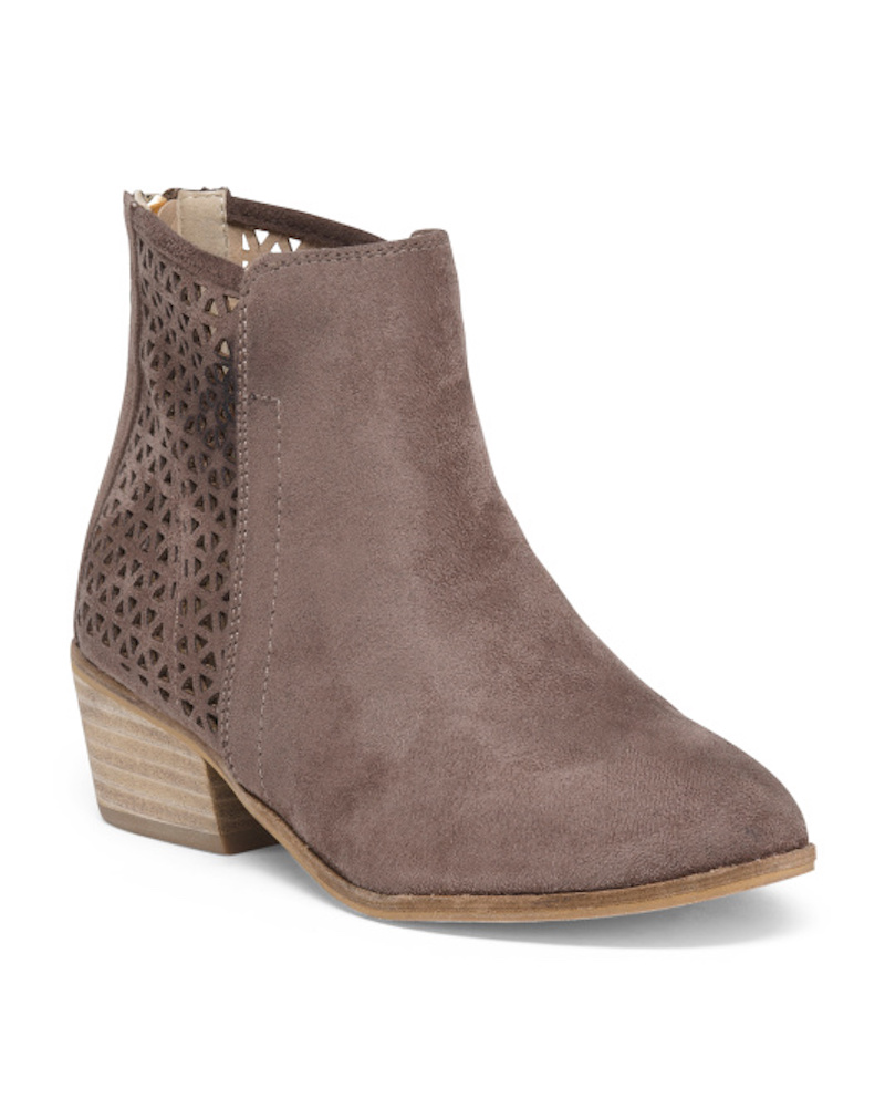 perforated mauve suede booties