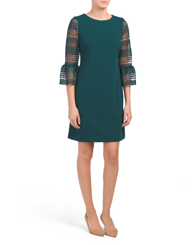 Green dress with lace sleeves at TJ Maxx
