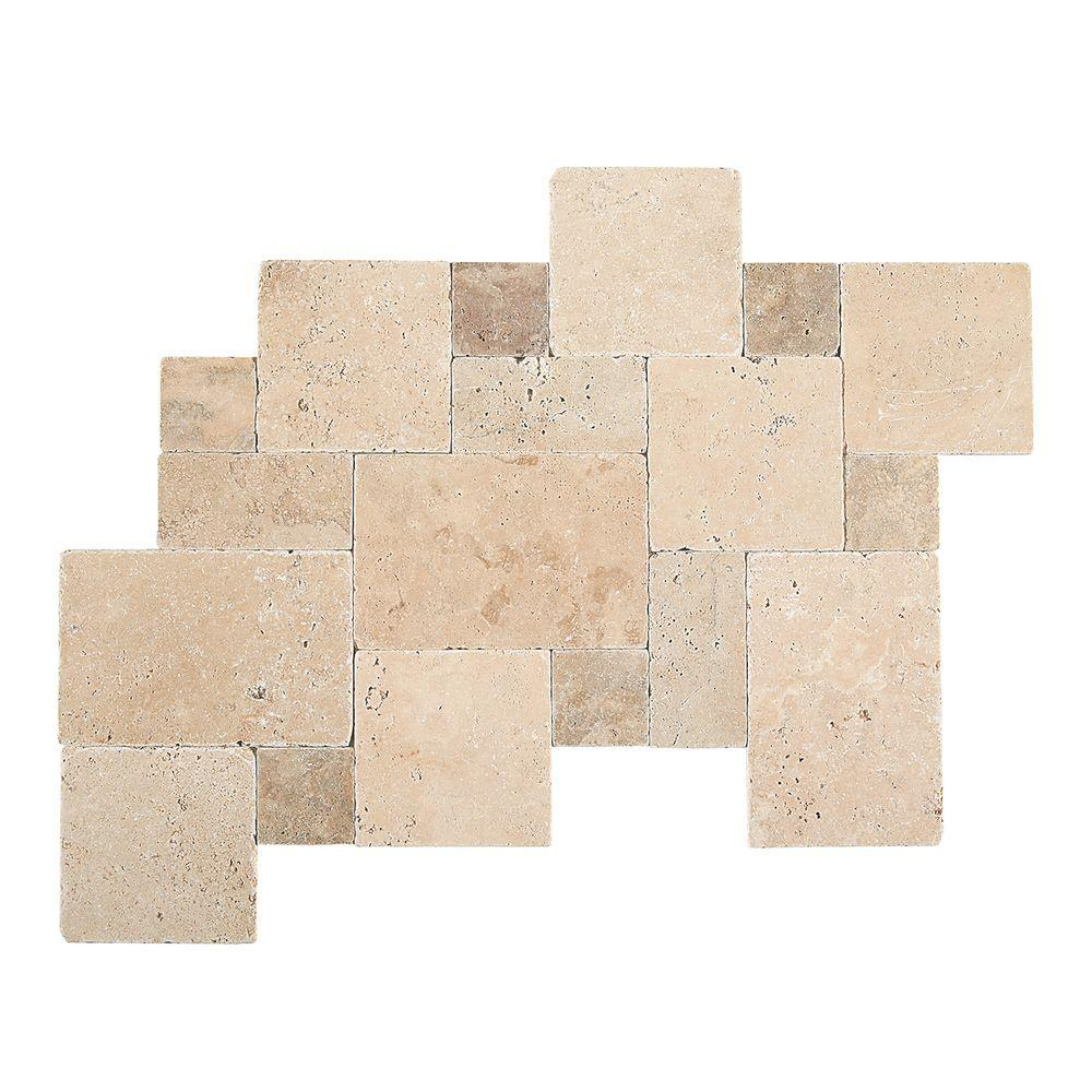 Daltile Travertine Peruvian Cream Paredon Pattern Natural Stone Floor and Wall Tile Kit, $10.30/sq. ft.; homedepot.com