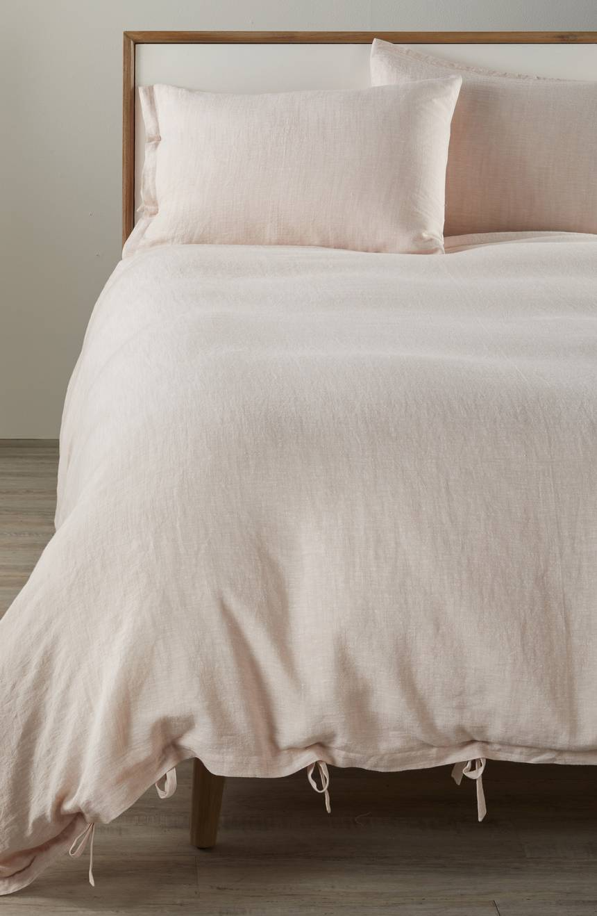 Relaxed Cotton and Linen Duvet Cover on bed