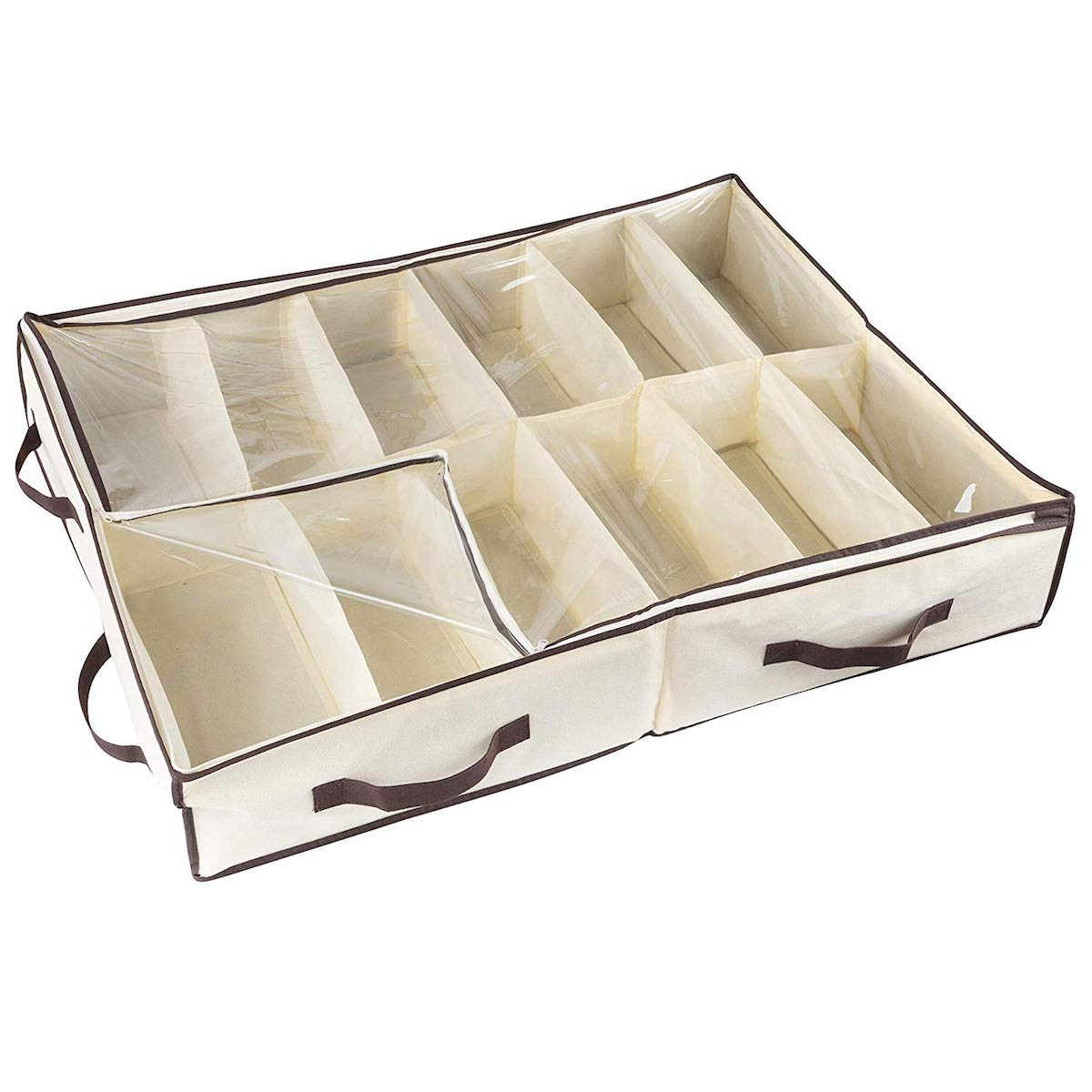 Underbed shoe storage bin with clear zippered cover