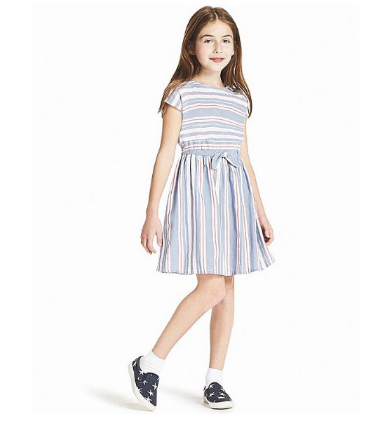 Girls Stripe Short-Sleeve Dress