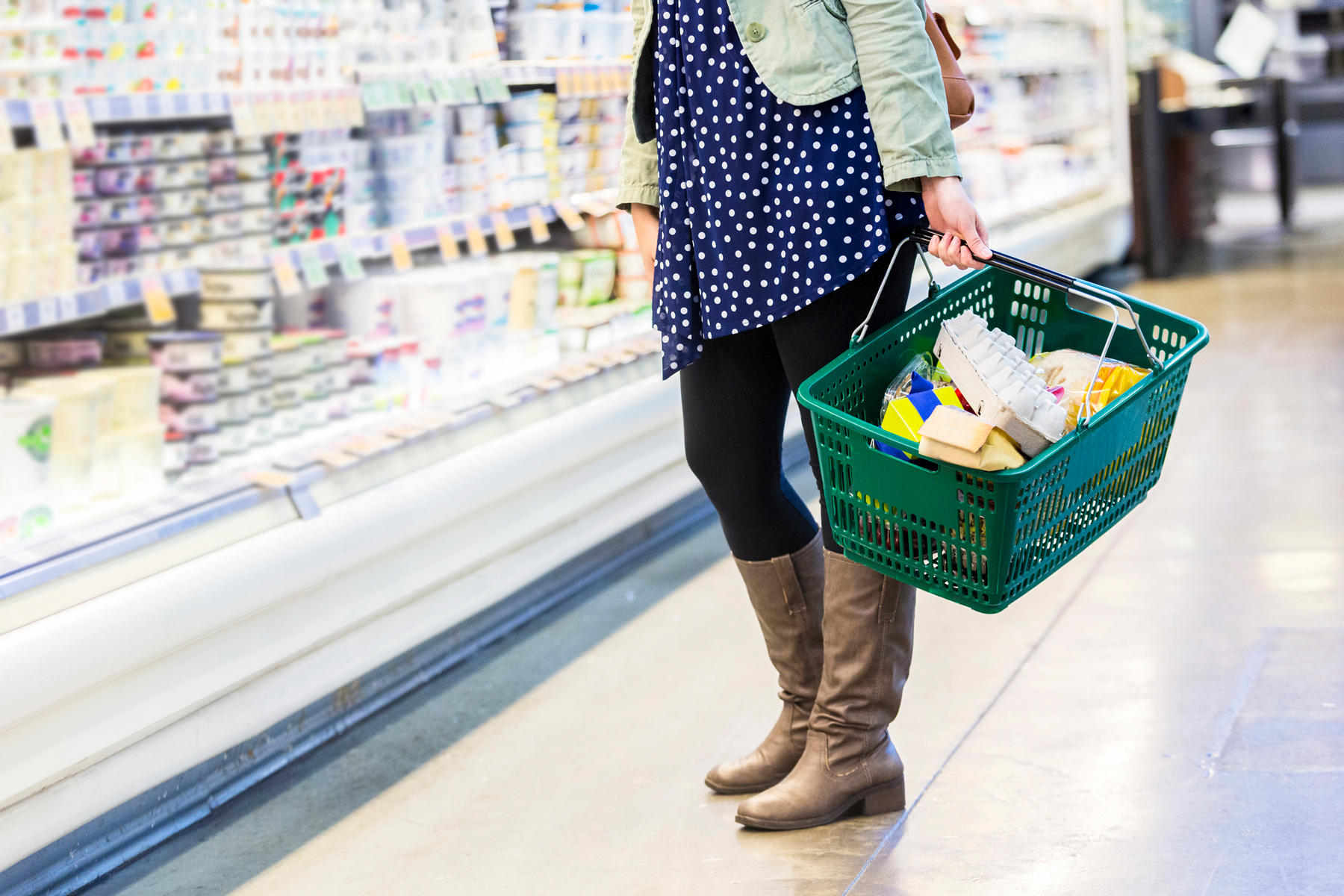 Upset stomach after eating healthy foods grocery basket