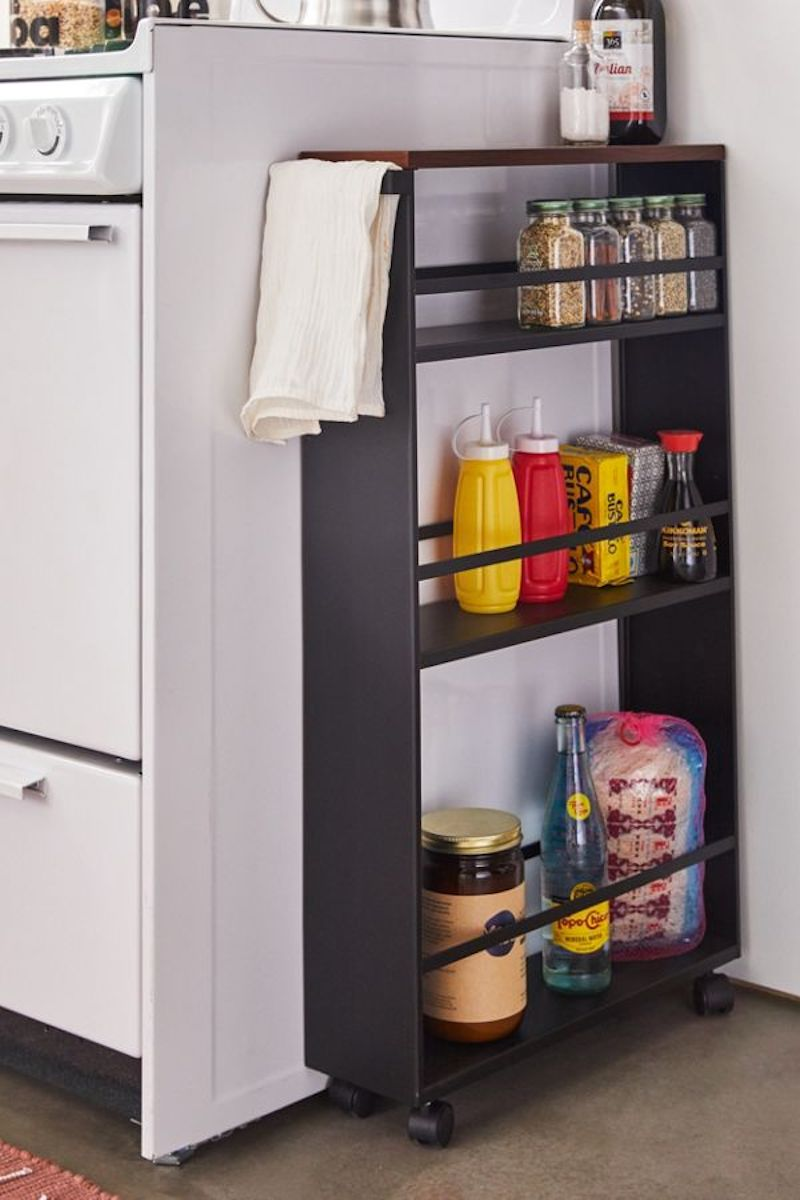 Slim rolling shelves for pantry or kitchen