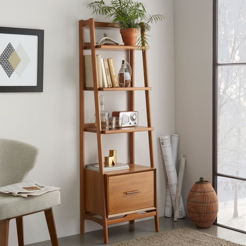 Vertical Storage Ideas, wooden wall-leaning shelves