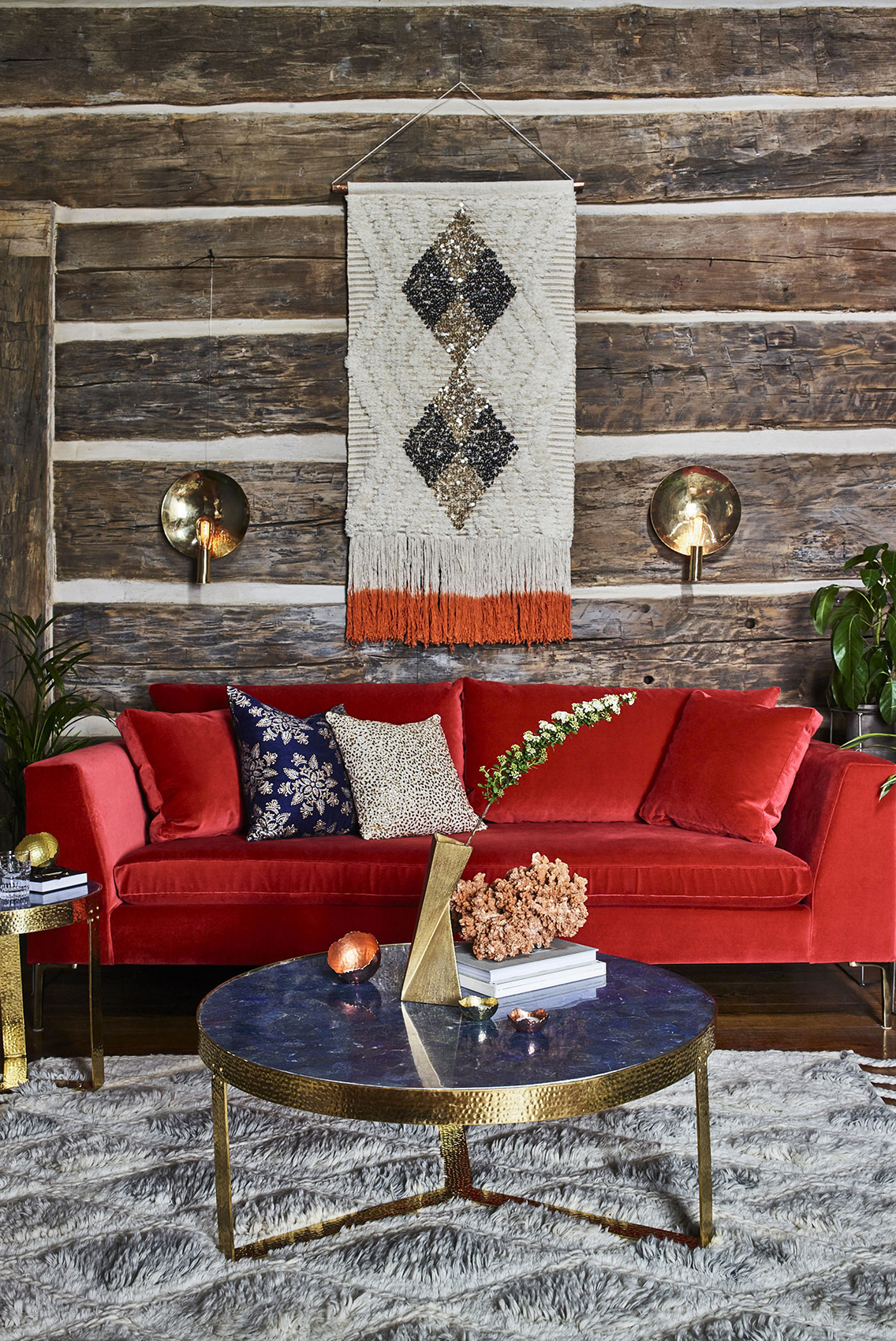 Vibrant red couch in living room