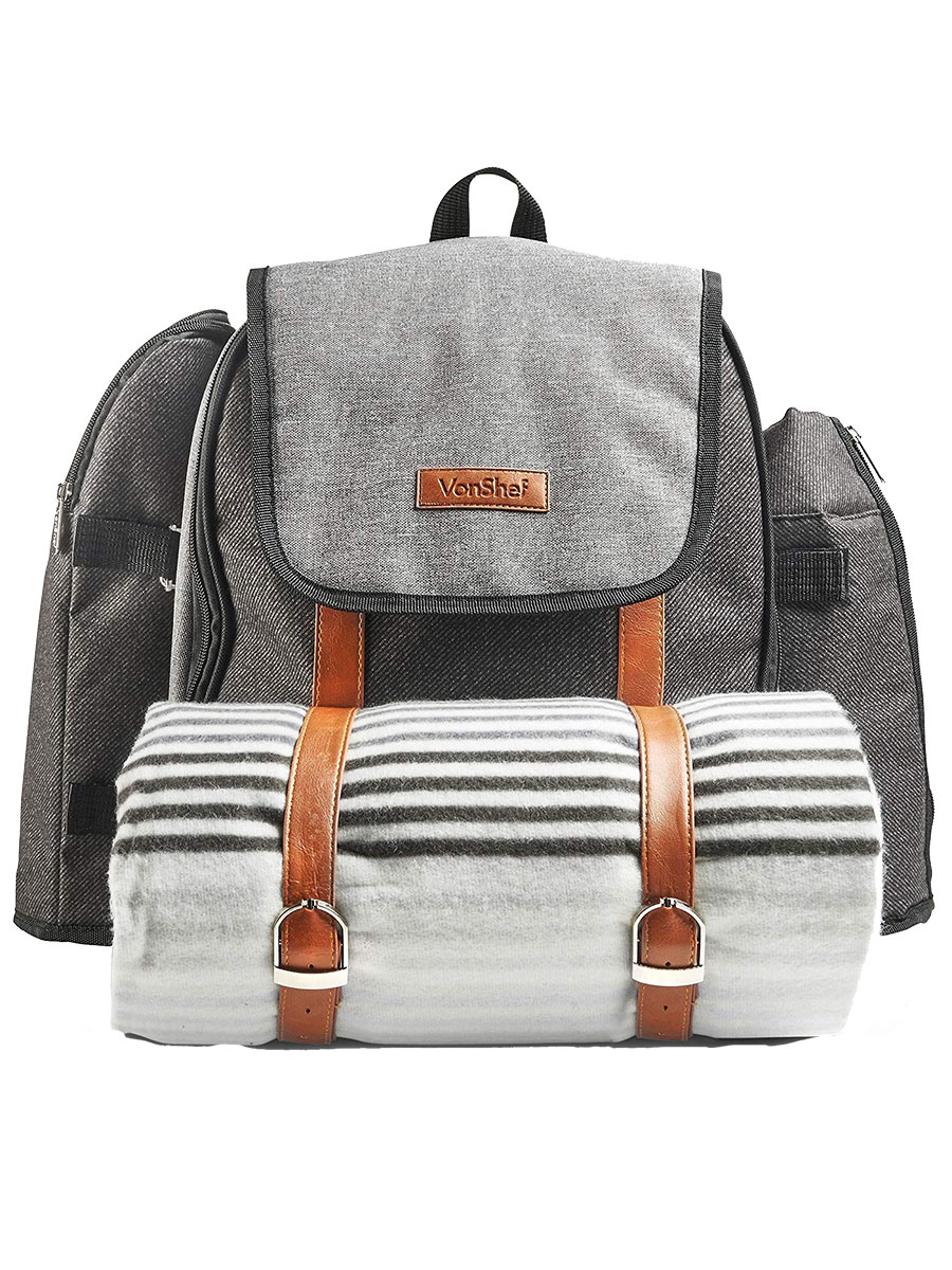 VonShef Picnic Backpack for Four with Blanket