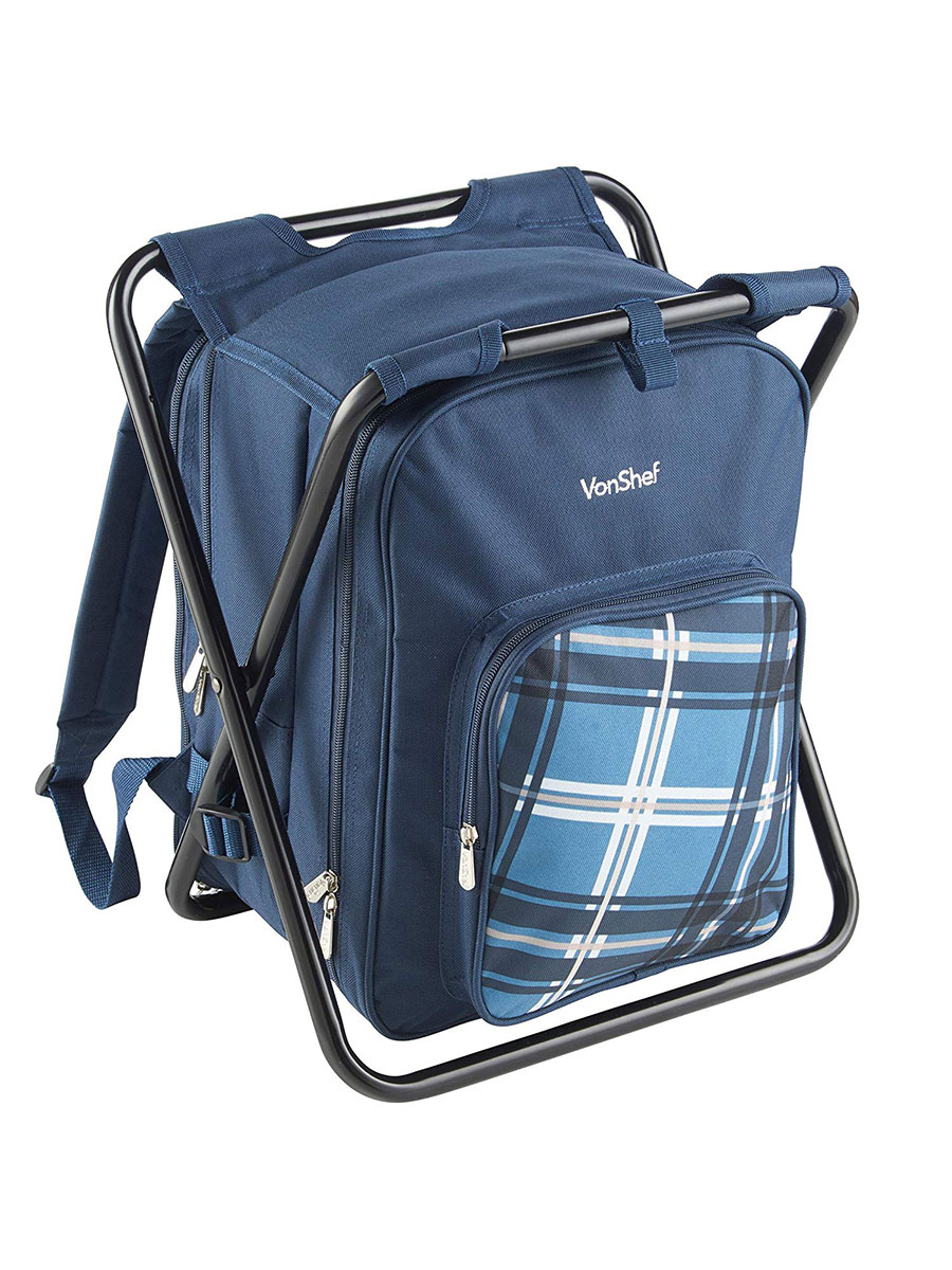 VonShef Two-in-One Blue Picnic Backpack & Stool