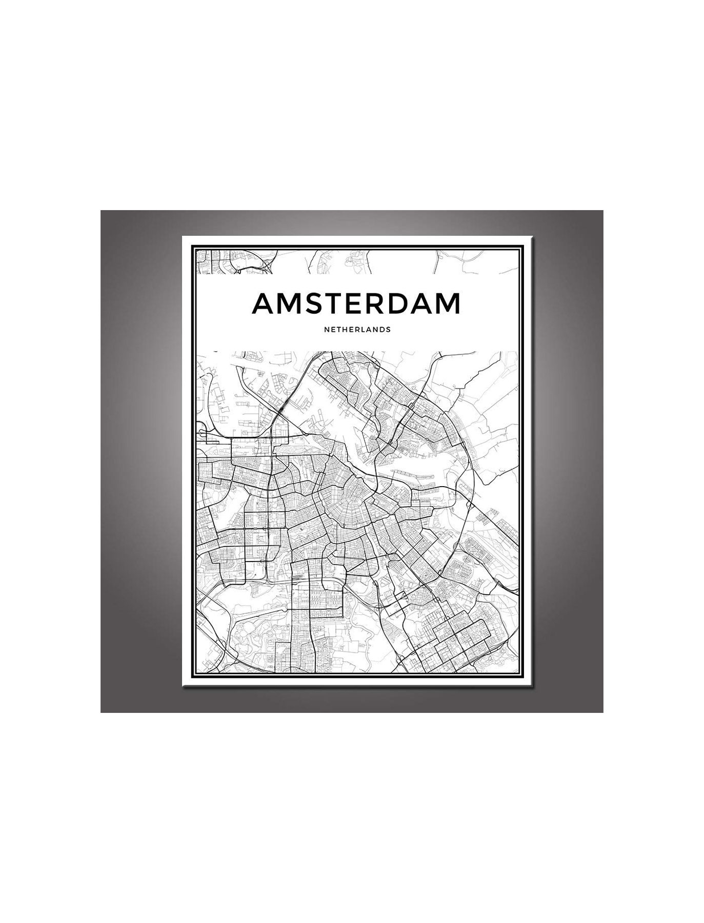 DingDongArt Framed Canvas Wall Art – Amsterdam Linear City Map