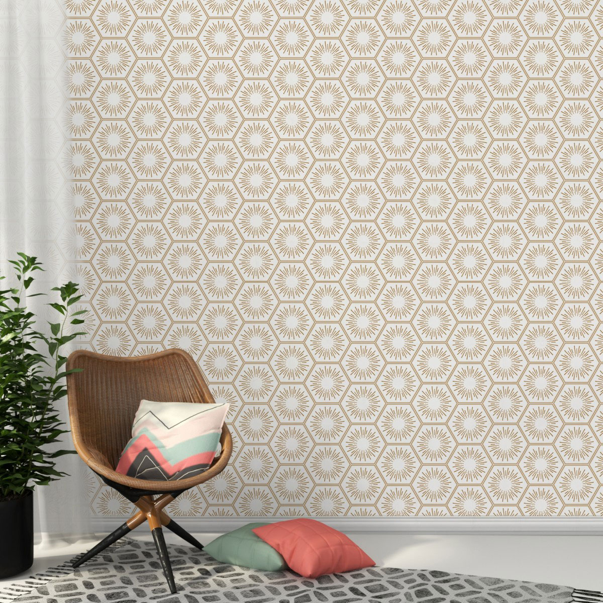 Wallpaper for Walls - Tempaper Hello Sunshine in Honeycomb
