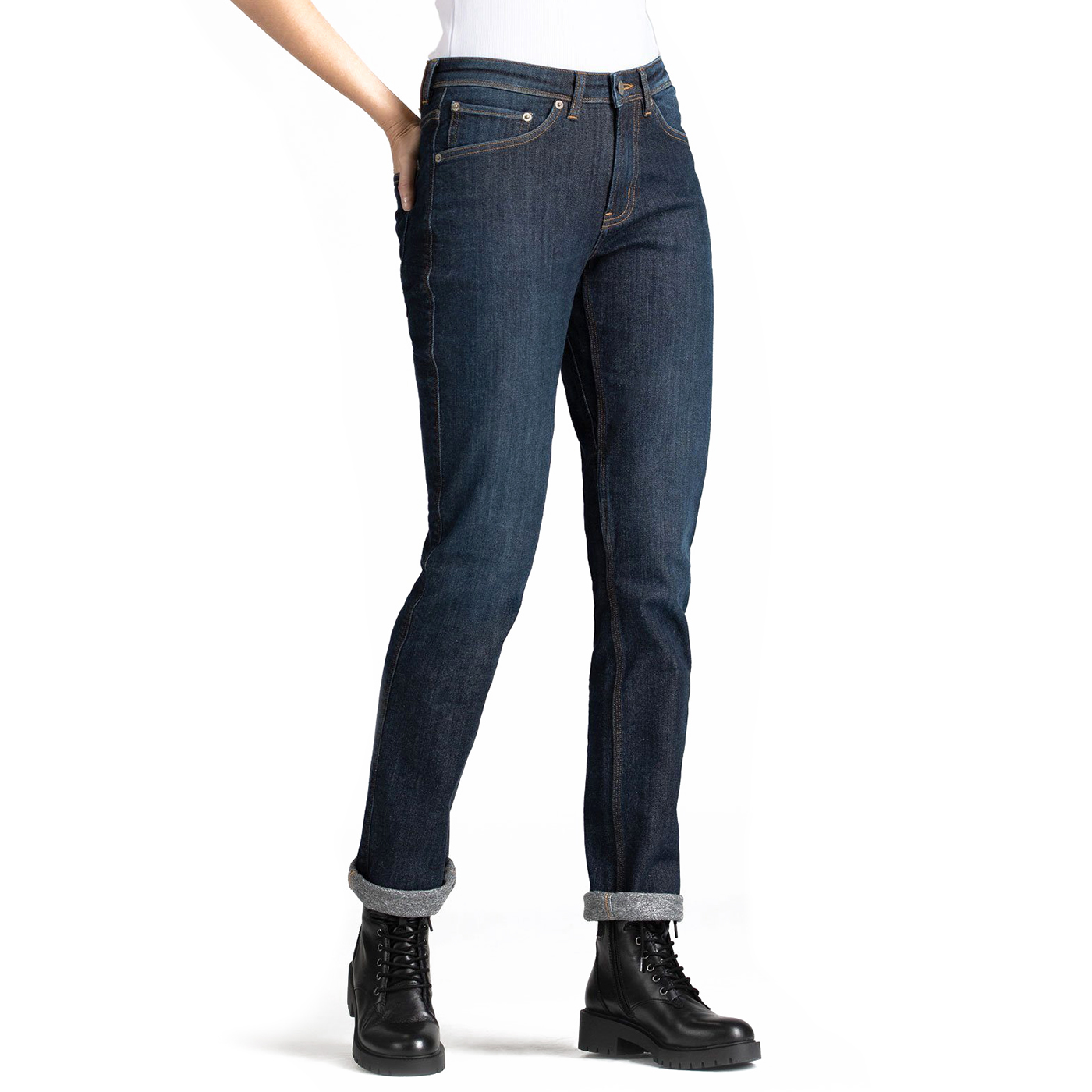 Warm Clothes for Women: Duer Fleece Stretch Jeans Slim Straight Jeans