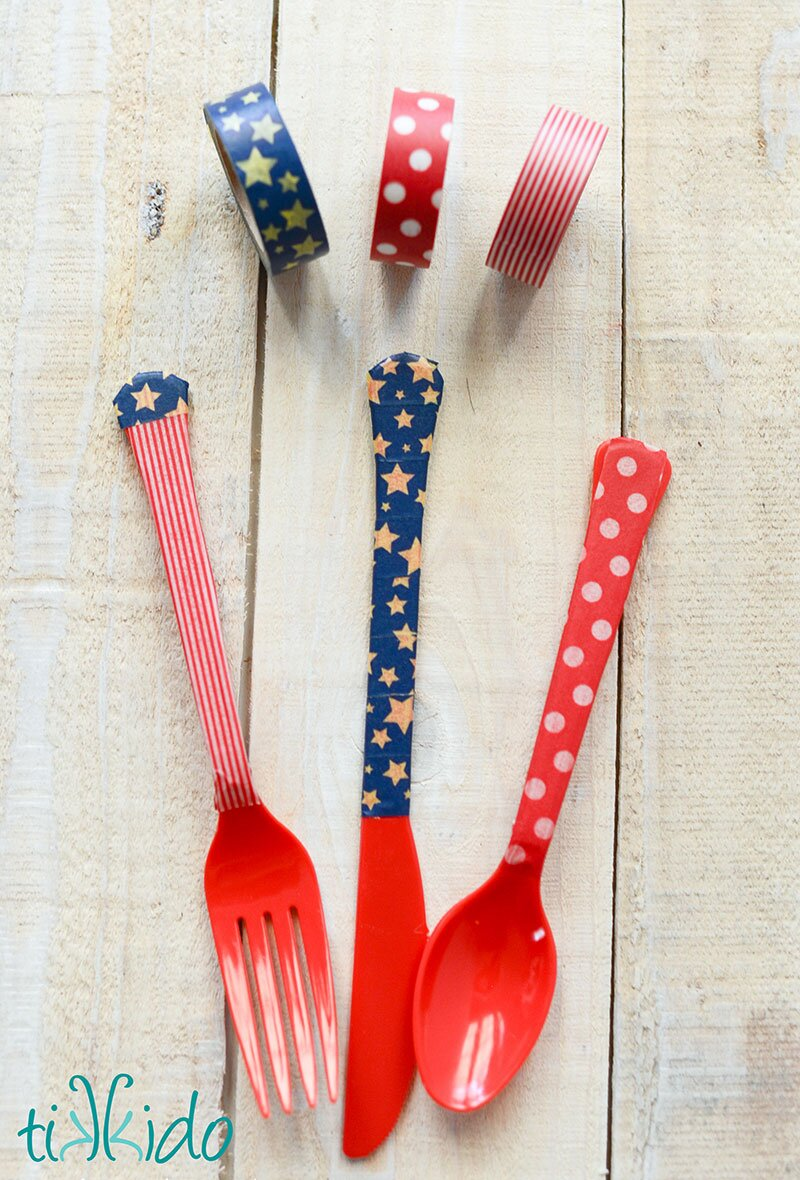 patriotic washi tape cutlery