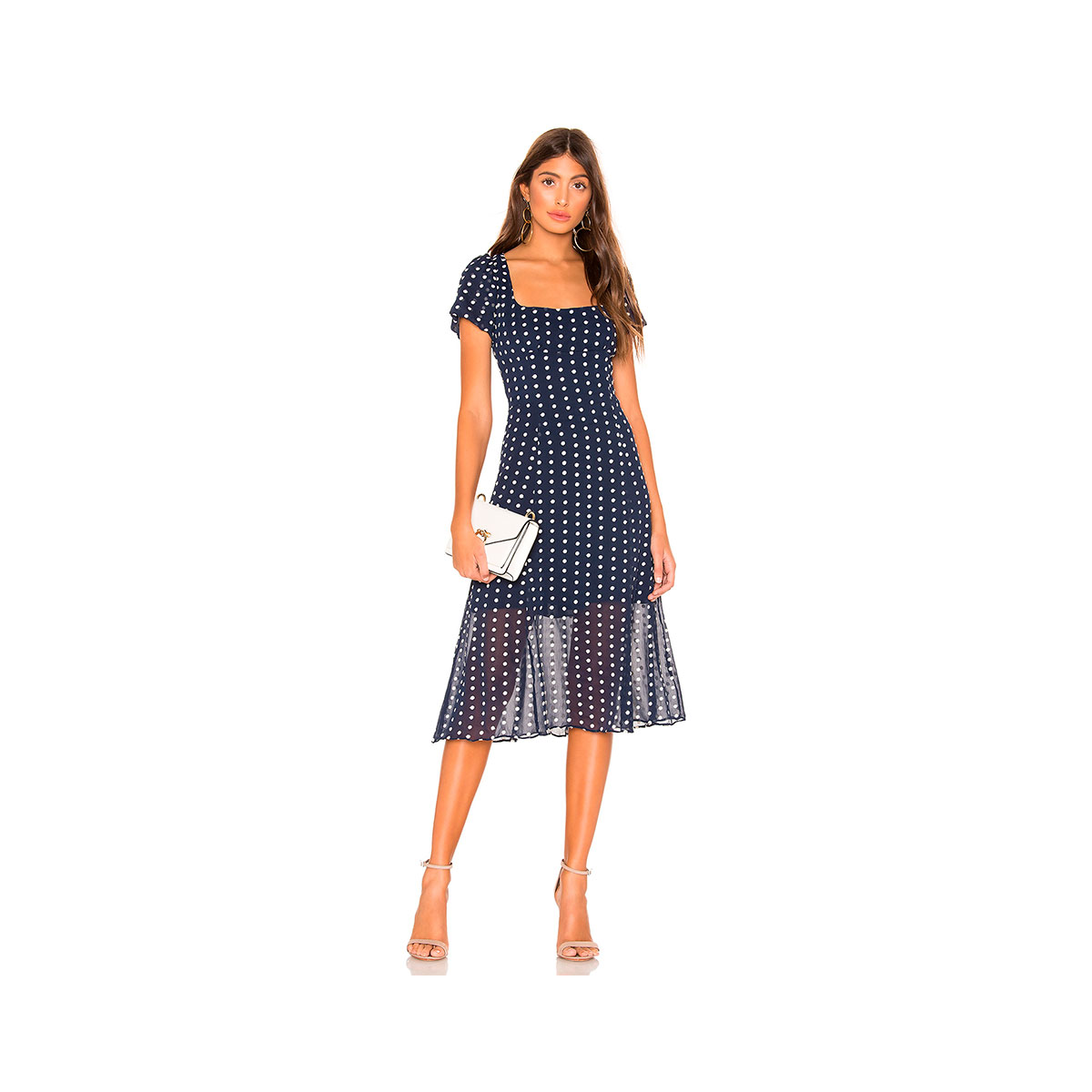 navy and white polka dot dress with short sleeves