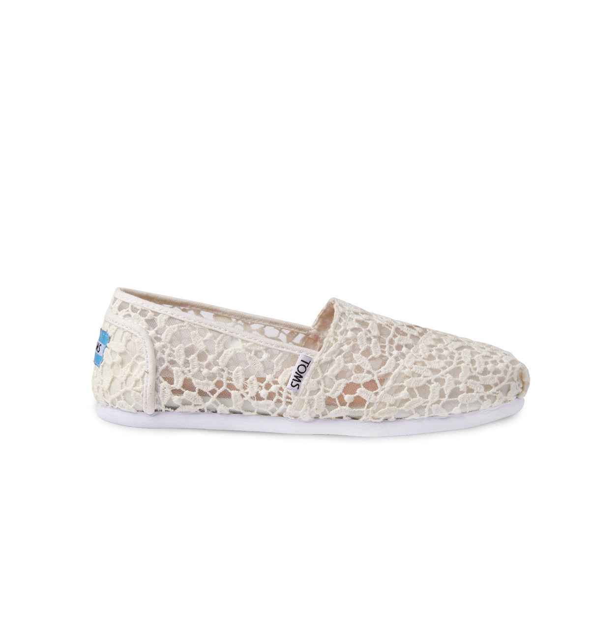 Tom's white lace wedding sneakers