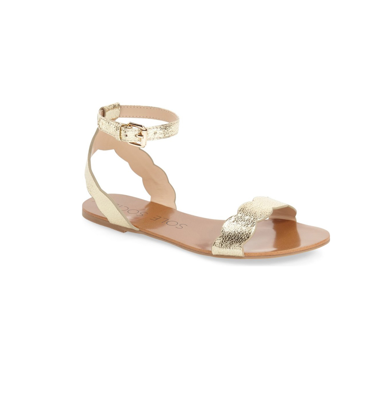 Sole Society 'Odette' Scalloped Ankle Strap Flat Sandal