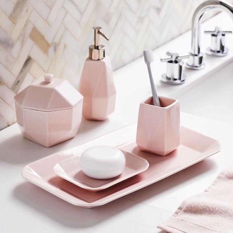 West Elm Bathroom Line Water Street Pink Countertop Trays and Soap Dispenser