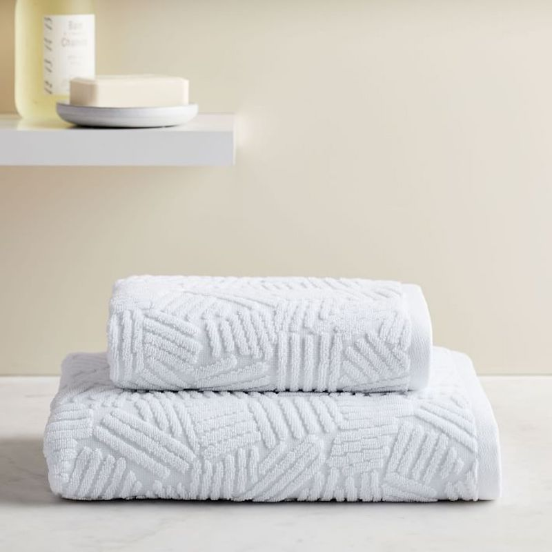 West Elm Water Street Line Bath Towels With Textured Pattern