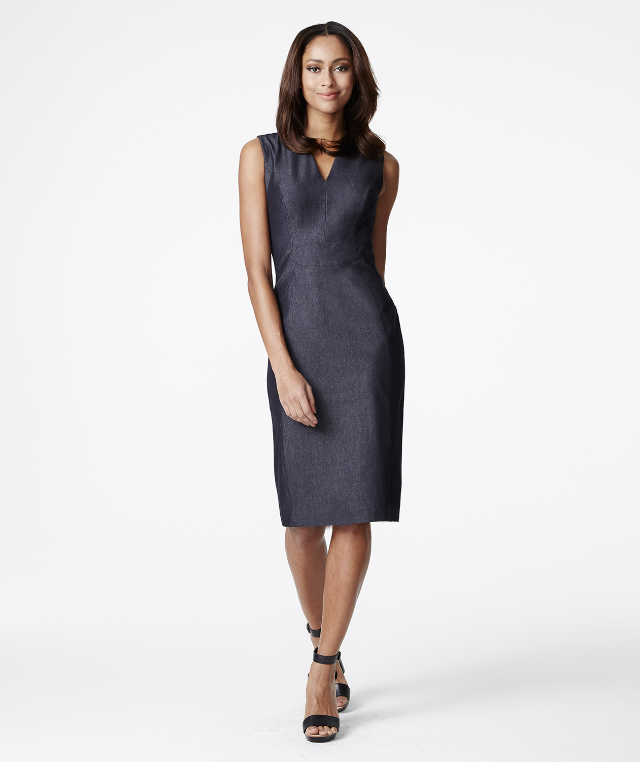 White House Black Market Denim Sheath Dress