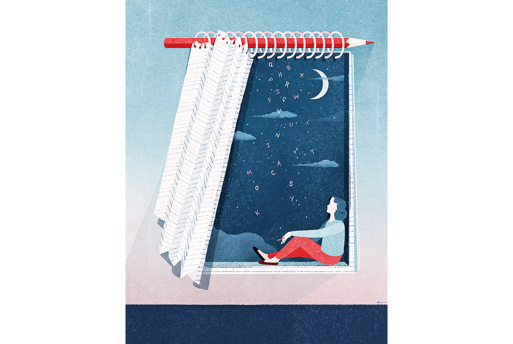 Illustration: woman in window with pencil, notebook page