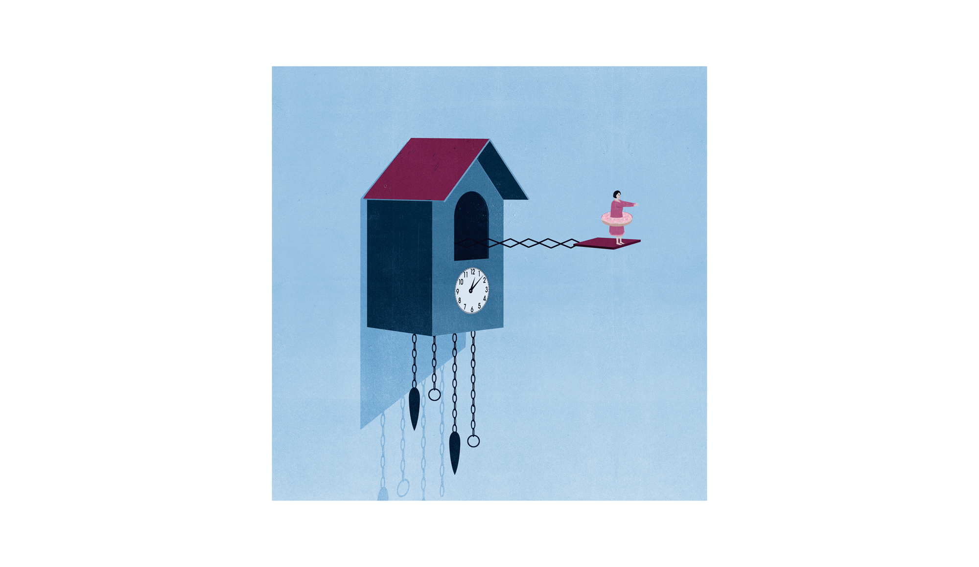Illustration: woman sleepwalking on cuckoo clock