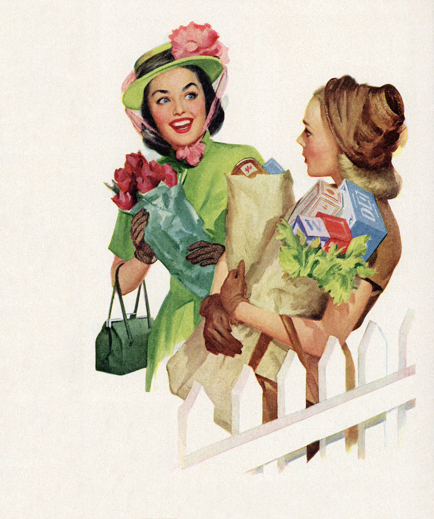 Women Grocery Shopping Vintage