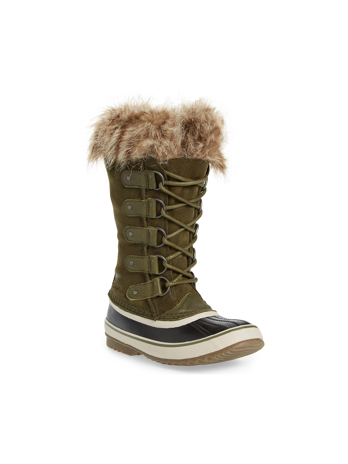 Womens lace up winter boots in green