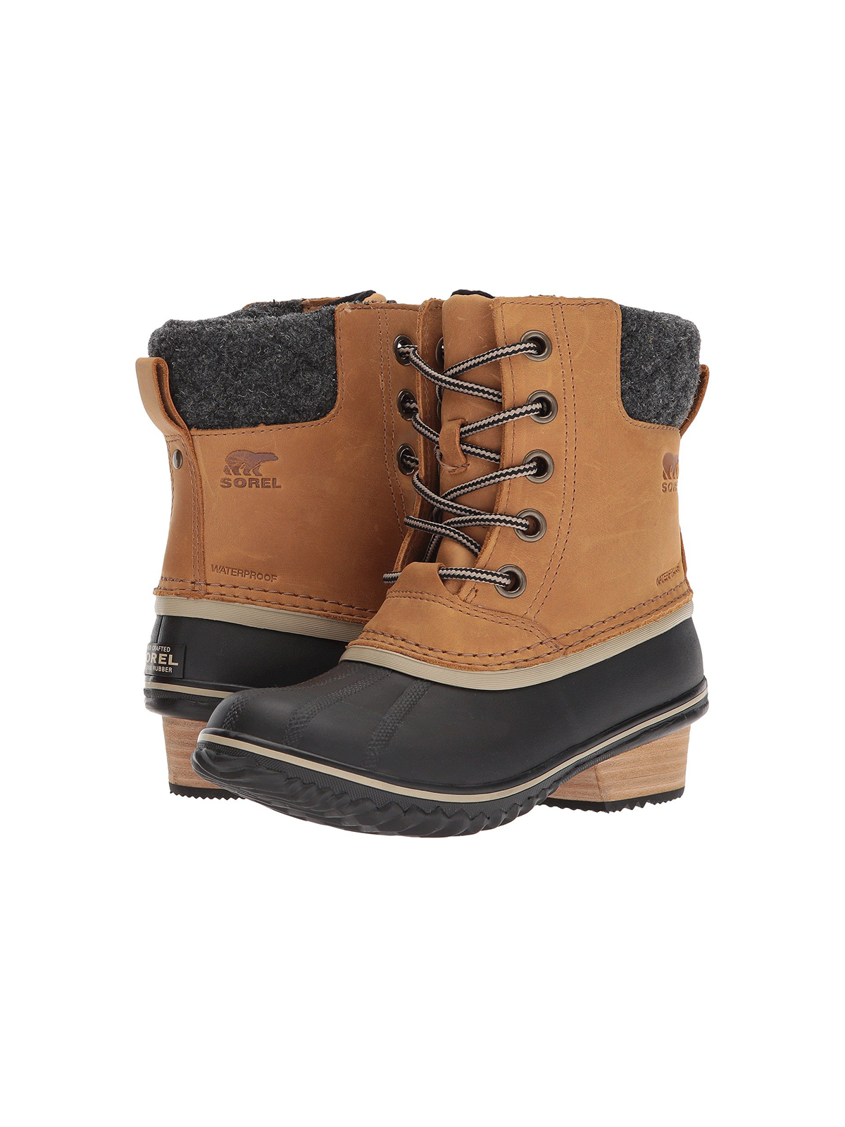 Womens Winter Boots, Sorel Slimpack in black and brown