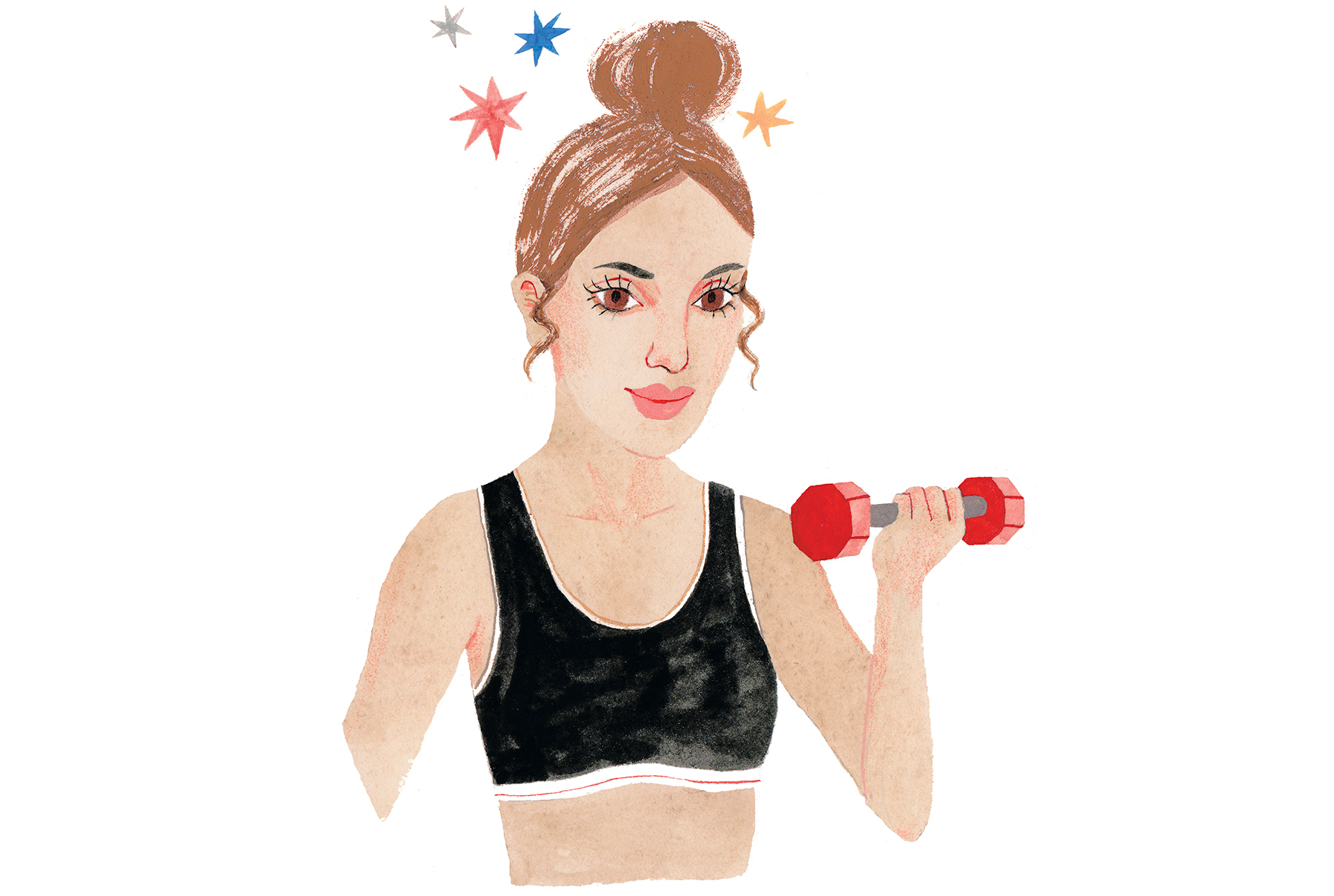 Illustration of woman working out with hair in topknot