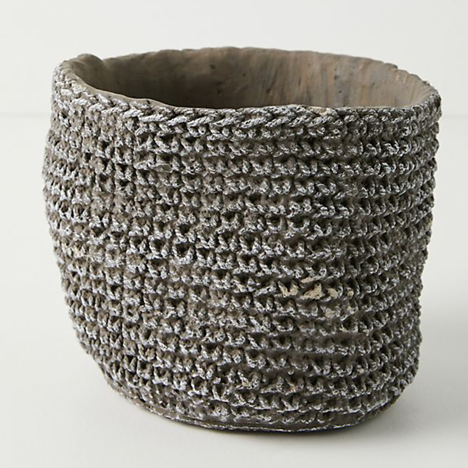 Anthropologie Woven Cement Pot
