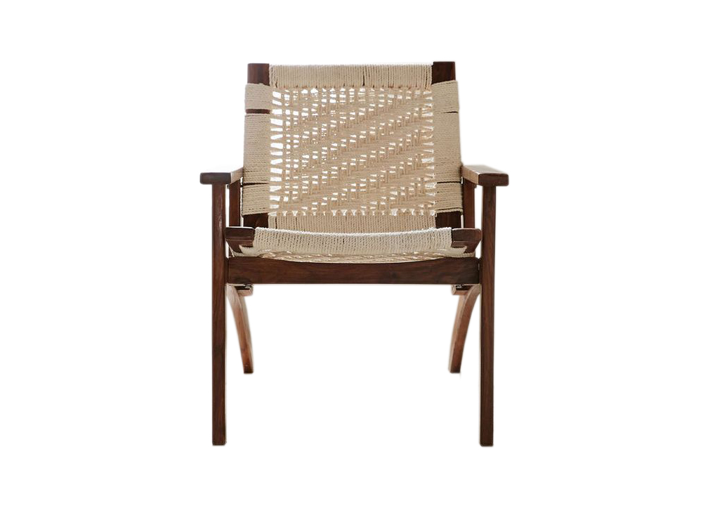Woven lounge chair in cream