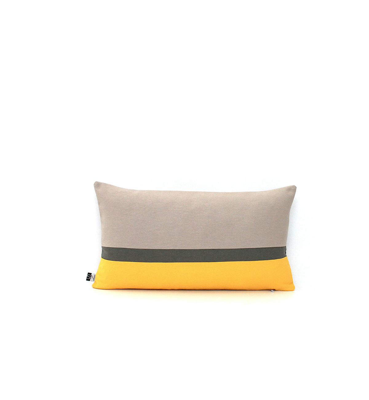 Gen Z yellow and gray pillow