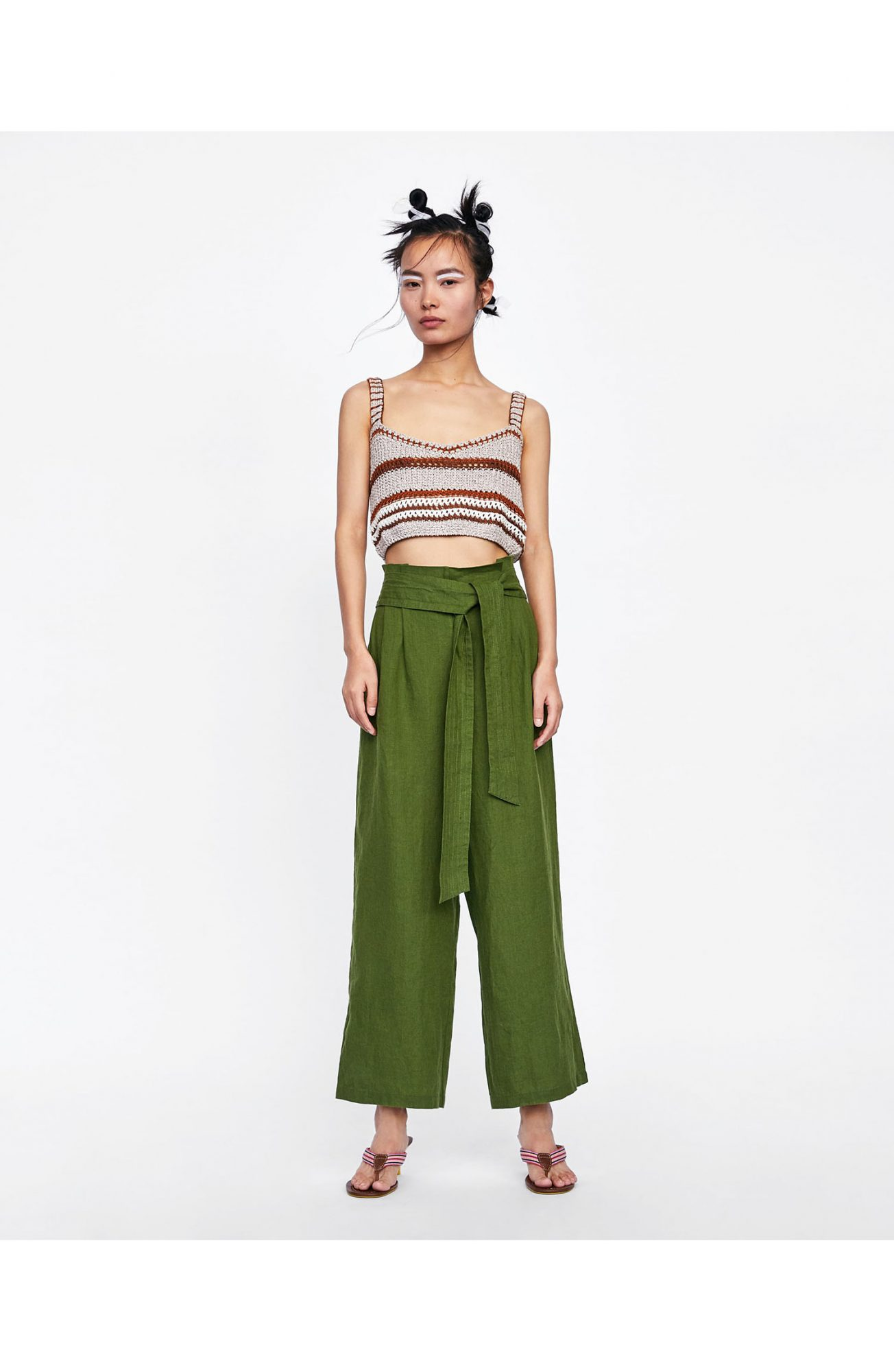 Zara Linen Culottes with Bow